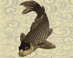 KOI carp, Japanese traditional fish Japan Vector