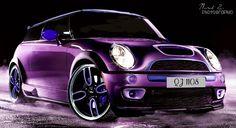 slammed metallic purple with blue....I kind of like this Mini Cooper...hmmmm...