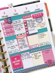 pink, purple, & turquoise week in the 'Botanical Garden' Happy Planner™ of mambi Design Tea member Mary-Ann Maldonado To Do Planner, Planner Layout, Planner Pages, Printable Planner, Happy Planner, Planner Stickers, Planner Ideas, Project Life Planner, Organized Planner