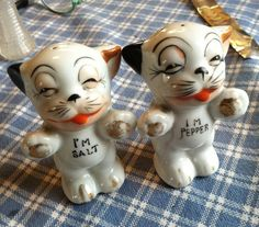 Antique Cat Salt & Pepper Shakers Made In Japan  Kinda Ugly Fellas!