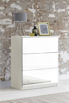 Buy Flynn 3 Drawer Chest from the Next UK online shop 3 Drawer Bedside Table, 3 Drawer Chest, Bedside Tables, White Furniture, Bedroom Furniture, Set Of Drawers, Grey Paint, Home Bedroom, Grey And White