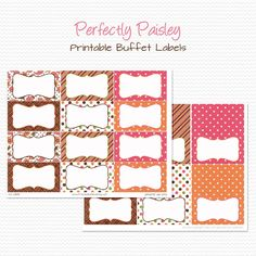 Candy Buffet Labels Tent Cards Pink and Zebra Print Birthday