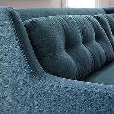 "Crosby Mid-Century Sofa (80"")   west elm Oversized Furniture, Slim Arms, Mid Century Sofa, West Elm, Solid Oak, Upholstery, House Ideas, Room Decor, Cushions"