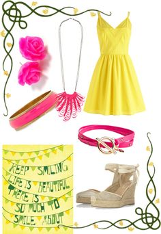 """Yellow & Pink!"" by hellojohnna ❤ liked on Polyvore"