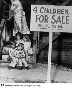 Mother hides her face in shame after putting her children up for sale, Chicago, 1948
