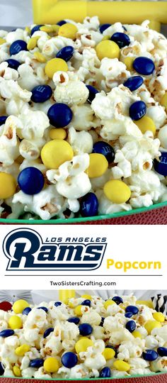 Los Angeles Rams Popcorn for those Los Angeles Rams fans in your life. Sweet, salty, crunchy and delicious and it is extremely easy to make. This delicious popcorn will be perfect at your next game day football party. a NFL playoff party or a Super Bowl party. Follow us for more fun Super Bowl Food Ideas. #LosAngelesRams #Rams #NFL #SuperBowlPartyFood #SuperBowl