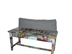 """Old Piano Bench made """"flashy"""" with magazine pictures; flip up lid, acrylic poly for durable finish.This item may be purchased on ecovolve now.com Old Pianos, Magazine Pictures, Piano Bench, Benches, Cool Furniture, Awesome, Amazing, Fun Crafts, Dining Bench"""