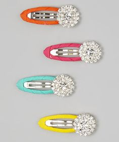 Loving this Hot Pink Rhinestone Clip Set on #zulily! #zulilyfinds