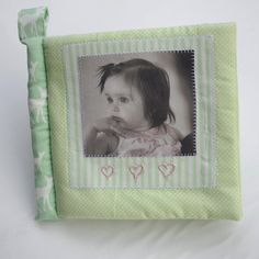 CUDDLE BOOK- 'GREENS'– Personalised cloth fabric baby photo album, Photos printed on soft safe cotton pages, Handembroidered name