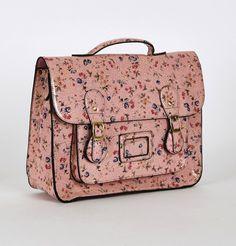 PINK Floral Glossy Leatherette Satchel Bag