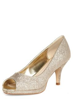 Gold Mid Heel Peep Toe Court Shoes - Going Out & Occasion - Shoes