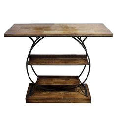 3-Tier Round Base Wood & Metal Shelves 149