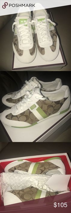 8377fafcc4eeb Coach sneakers Coach sneakers in Coach signature print brown green and white  Size 7 1