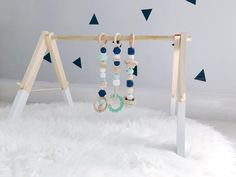 Modern Wooden Play Gym--Mint and Navy
