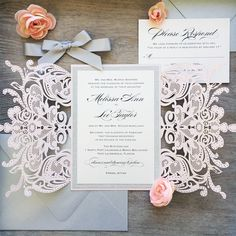 MELISSA GLITTER ♥ This invitation can be customized to match the colors of your event. Please ask for more details and available color options. FEATURED COLORS ~ Laser cut gatefold in Blush Shimmer ~ Printing on Ivory Shimmer Card Stock ~ Silver Glitter Border ~ Silver Ribbon ~ Silver Shimmer E