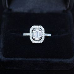 Delicate 18k White Gold .83cttw Emerald-Cut Diamond Engagement