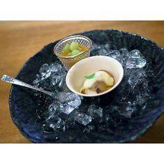 Kappo lunch @ Kyoto Miyagawa-cho Suiren (宮川町 水簾) Dessert - Peach puree & chestnut sauce with seasonal fruits デザート桃のすり流し 季節のフルーツ栗のソースかけ by ekfairy