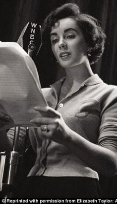 Elizabeth Taylor recording a radio show around 1949