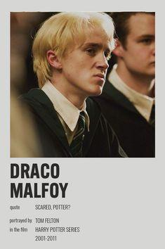 Hery Potter, Draco Harry Potter, Harry Potter Characters, Harry Potter World, Harry Potter Movie Posters, Iconic Movie Posters, Iconic Movies, Draco Malfoy, Harry Potter Information