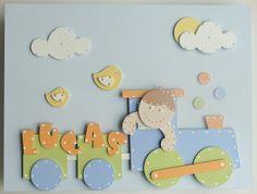 Material: base em tela, e desenhos em madeira mdf com pintura de tinta acrílica acetinada. Foam Sheet Crafts, Clown Party, Photo Frame Design, Diy And Crafts, Paper Crafts, Foam Sheets, Class Decoration, Diy Frame, Baby Room Decor