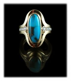 Women's Bisbee Turquoise Gold and Diamond Ring