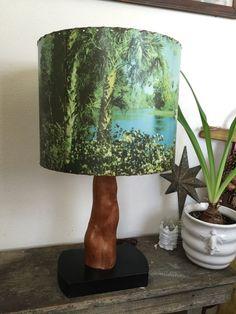 Vtg MCM Helmscene Back Light Lamp Birch Wood Tropical Picture Shade TV Retro