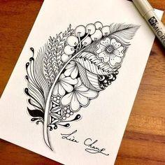 Doodle art 176133035413185011 - Zentangle Doodle by Lisa Chang Source by chloandfloss Doodle Art Drawing, Zentangle Drawings, Mandala Drawing, Cool Art Drawings, Pencil Art Drawings, Zentangle Patterns, Art Drawings Sketches, Doodles Zentangles, Mandala How To Draw