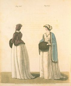 Morning Dresses (with Hand Muffs), February 1800, Gallery of Fashion