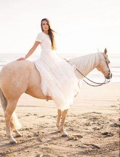boho beach bride with horse