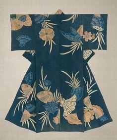 19th century cotton country Kimono, featuring tsutsugaki technique. Japan