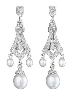 diamond-accent and cultured freshwater pearl earrings