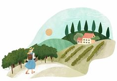 Daydreaming about the French countryside. Illustration by Clare Owen. Represented by i2i Art Inc. #i2iart