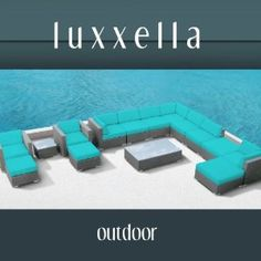 Modern Outdoor Patio Furniture Wicker Bella 15 PIECE TURQUOISE