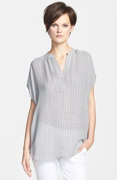 Vince 'Popover' Print Blouse available at #Nordstrom
