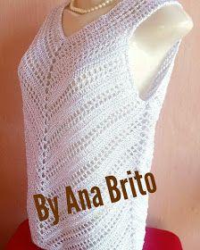 Dy Crochê! (By Ana Brito): Blusa diagonal em crochê! Crochet Stitches, Knit Crochet, Crochet Tops, Knitting Patterns, Crochet Patterns, Diagonal, Tunic Pattern, Crochet Clothes, Diy Gifts