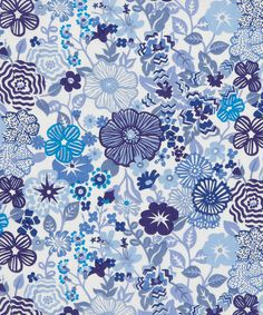 I like the graphic line work of Beths Flowers D Tana Lawn, Liberty Art Fabrics Collection.