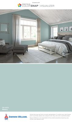 I found this color with ColorSnap® Visualizer for iPhone by Sherwin-Williams: Watery (SW 6478).
