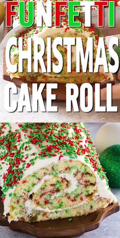 Funfetti Christmas Roll Cake Recipe! This is the perfect Christmas Dessert and Party Recipe for Holiday Parties and Christmas Eve! This cake recipe is SO good and festive with Red and Green! It is sure to be a crowd favorite and everyone will be asking you for the recipe! Perfect for kids too! #passion4savings #cake #red #green #roll #christmas #holiday #dessert