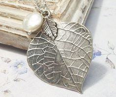 Aspen Leaf Necklace Coin Pearl Sterling Silver by Kikiburrabeads, $22.50