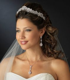 Majestic Wedding Tiara and Matching CZ Jewelry Set - so regal! affordableelegancebridal.com