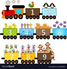 Find Train Number Animals Vector Illustration Eps stock images in HD and millions of other royalty-free stock photos, illustrations and vectors in the Shutterstock collection. Thousands of new, high-quality pictures added every day. Numbers Preschool, Learning Numbers, Preschool Printables, Preschool Learning, Kindergarten Literacy, Literacy Centers, Math For Kids, Craft Activities For Kids, Preschool Activities