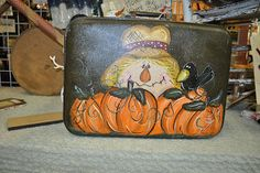 Talented Friends - Lana Flint Crow Painting, Primitive Painting, Autumn Painting, Tole Painting, Fall Paintings, Vintage Halloween, Fall Halloween, Halloween Crafts, Painted Suitcase