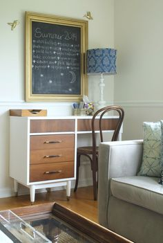 Desk makeover using General Finishes Snow White Milk Paint from Rockler.com. Primitive and Proper