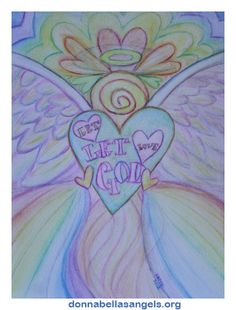 Let Love Let God Angel Art Watercolor Painting