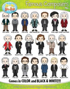 Famous Composer Characters Clipart {Zip-A-Dee-Doo-Dah Designs} Piano Music, Art Music, Compositor Musical, Music Clipart, Classical Music Composers, Classroom Art Projects, Music Worksheets, Music Illustration, Clip Art