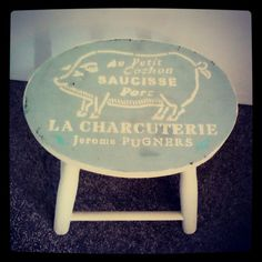 Childs stool painted with Annie Sloane old ochre and duck egg blue. French pig stencil in Country grey.