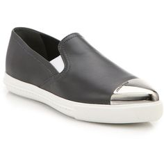 Miu Miu Leather Cap-Toe Slip-On Sneakers (€470) ❤ liked on Polyvore featuring shoes, sneakers, apparel & accessories, dark grey, leather trainers, leather platform shoes, leather cap, slip on shoes and cap toe shoes