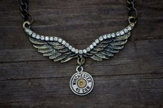 Winged Bullet Necklace, Angel, Wings, 40 Caliber, Bullet Jewelry, OOAK Custom Artisan Design, Mens, Womens, Children, With options