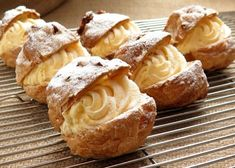 This cream puff recipe is made with choux pastry and filled with vanilla pastry cream. Make frozen cream puffs and fill them with vanilla ice cream. Cream Puff Filling, Cream Puff Recipe, Custard Filling, Italian Pastries, Italian Desserts, Italian Cookies, French Desserts, Italian Recipes, Puff Pastries