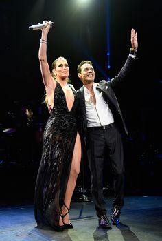 """Jennifer Lopez and Marc Anthony are quite the amicable exes! The """"Booty"""" singer, joined her ex-husband onstage during his NYC concert at Radio City Music Hall on Saturday, Aug. Jennifer Aniston Oscar, Jennifer Lopez Marc Anthony, Latina, Latin Grammy, J Lopez, Concert Looks, Radio City Music Hall, Oscar Dresses, Latin Women"""